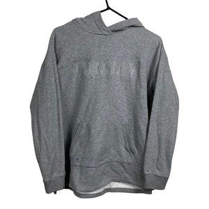 Tommy Hilfiger Hoodie Mens Size M Grey Fleece Pullover Classic Fit Retro